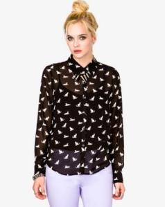Forever21 Cat Chiffon Shirt2